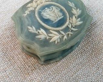 Genuine Incolay Stone Jewelry Box, Incolay Stone, Vintage Jewelry Box, Art Deco, Mid Century Art