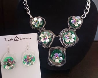 Recycled Plastic Flower Jewelry Set, Trash to Treasure, One of a Kind Gift, Eco- Friendly, Upcycling at its Best!