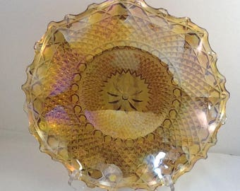 Indiana Glass Crimped Hostess Plate 1263 Amber Carnival Glass