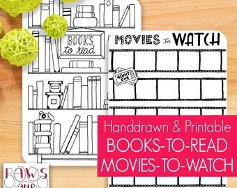 Books To Read • Movies To Watch • Planner Printable • Bullet Journal Wishlist • Movie Night • Read A Book • Four Sizes • A5 Planner Inserts