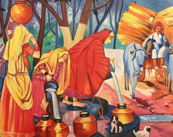 Life in an Indian Village, Art of Rajasthan, Mixed Media