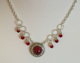 Red Charm Necklace and Earring Set