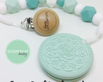 Mint Oreo cookie teether - biscuit teether - chew toy - Bpa Free - teether - baby/toddler - safety breakers - toy - baby shower - stocking
