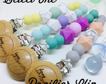 Silicone Teething Pacifier Cip - different shaped beads - Chew Beads - Bite Beads - Universal Pacifier Holder - soother clip -select one