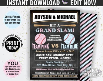 INSTANT DOWNLOAD / edit yourself now / Baseball / Gender reveal / Baby shower / invitation / invite / chalkboard / pink / blue / sports SSP1