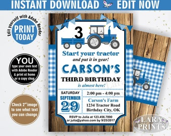 INSTANT DOWNLOAD / edit yourself now / Birthday Invitation / Tractor / Birthday Invite / Woodland / Blue / Plaid / Boy / Farm / Rustic BDT8