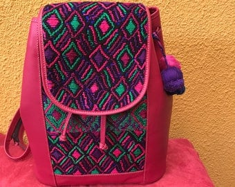 Colorful but fashionable Huipil backpack , Fucsia leather and Huipil from Santa Maria de Jesus