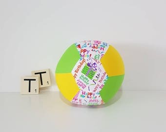 Fabric Balloon Cover - Happy Birthday - Balloon Cover - Fabric Bouncing Balloon Cover - Happy Birthday Balloon