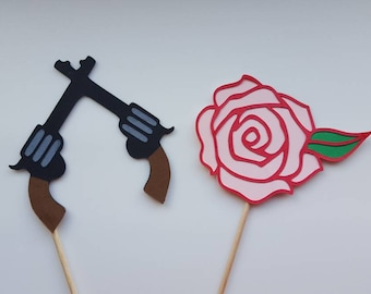 Guns or Roses cupcake toppers, set of 12.