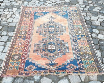 Boho Rug Vintage Rug , Oushak Rug , Turkish Rug  Home Office Rug Decor Saloon Designer Area Rug
