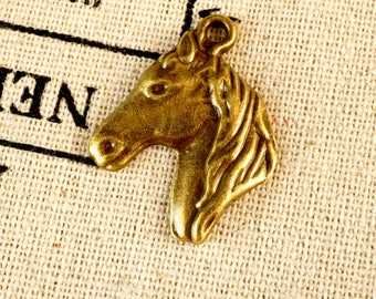 Horse head charm bronze vintage style jewellery supplies