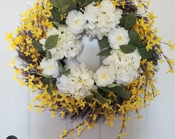 Summer wreath/ spring wreath/ front door wreath/door wreath/housewarming wreath/ hydrangea wreath