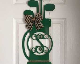 Monogram Golf Bag Door Hanger - Father's Day Door Hanger - Golf Bag Wreath - Golfer Door Hanger - Golfer Wreath - Golf Door Hanger