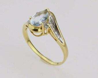 14k Yellow Gold Diamond & Aquamarine Ring Size 6.75(01253)