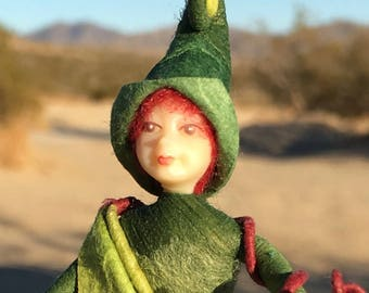 "Fae Folk® Fairies - CRICKET - Woodland Elf. Bendable, posable 5"" soft doll can sit, stand, or hang."