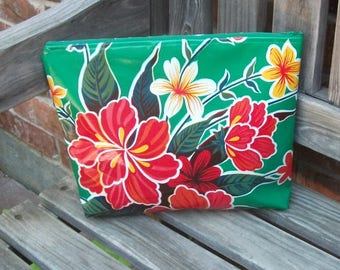 Large Green Floral Oilcloth Zipper Pouch