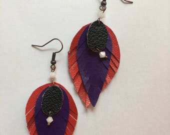 Colored leather pendants earrings