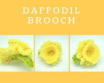 Handmade Crochet Daffodil Brooch