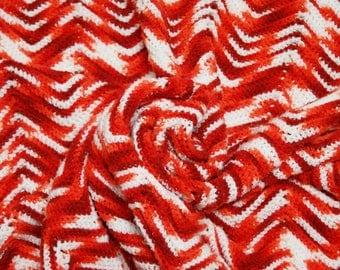 Vintage Chevron Afghan ⎮ 70s Crocheted Afghan ⎮ Handmade Blanket