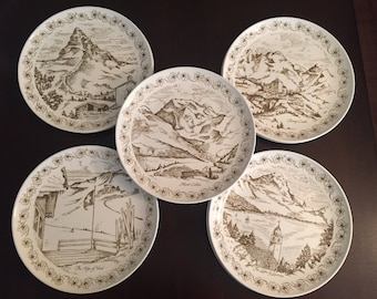 Set of 9 Swiss Alps diner plates Pyroceram Tableware by Corelle
