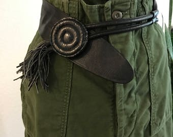 1980s - Vintage Snakeskin Belt - Leather belt - Cat o nine tails - Dominatrix Belt