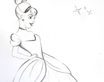 Cinderella Disney Art, I can add any comment / Name