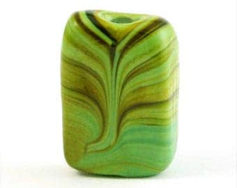 352 - Lampwork, Marbleized Swirl, 17mm, Mint Green with Brown - Package of 5
