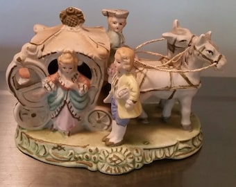 """Vintage Bisque Horse Drawn Carriage With Driver And Courting Couple 6"""" Long"""