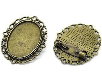 Bronze pin tray for cabochon backing