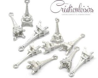 10 charms pendants 24 x 5 mm silver plated Eiffel Tower