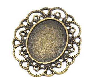 2 support cabochon filigree connector bronze oval 40 x 35 mm