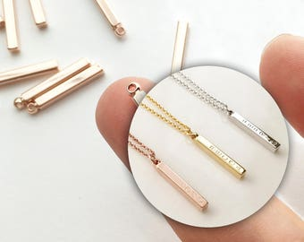 4 Rose gold plated bars, Necklace findings, Jewelry parts, Metal Bead, Jewelry Making USA Seller Rose Gold Charm 4PD4B-R