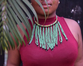 Vinyl disc Fringe Statement Necklace | Tribal, Beads, dangle, waterfall | African upcycled beads | handmade in Senegal
