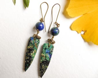 Spikes of blue-green Spears with tribal earrings