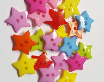 16mm acrylic star buttons, 2-Hole buttons, Buttons, Star buttons, Craft buttons, Sewing buttons, Scrapbooking buttons, Star, Stars