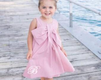 Monogrammed Big Bow Dress - Rosy Mauve,Little girls,Valentines Day,Baby Shower Gift,Easter Dress,Toddler Girls
