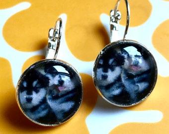 Handmade husky puppy cabochon earrings- 16mm