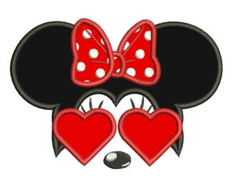 Minnie Heart Sunglasses - Mickey Ears Applique Design 3 sizes instant download
