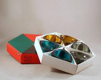 Vintage Nuutajärvi Bullseye ashtrays or bowls, designed by Kaj Franck, teal, amber, smoke gray
