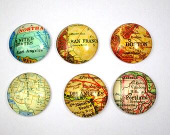 Set of 6 cabochons 25 mm - world maps - 2