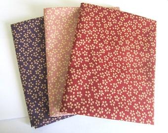 Set of 3 coupons 45 x 35 cm - reversible sakura - red/Pink/Purple