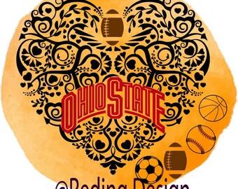 Ohio State Football Baseball Soccer Basket ball heart SVG digital cut files.