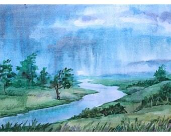 1+1=3! Digital Print, Watercolor painting,Instant Download Printable Art, watercolor landscape, Original art, Summer landscape, Rain