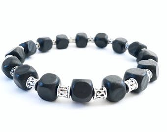 Dark Woods~ Handmade Stretch Bracelet~ Black Wooden Cube Beads~ Sterling Silver Filled Etched Tube Beads~ For Men or Women~ Adjustable