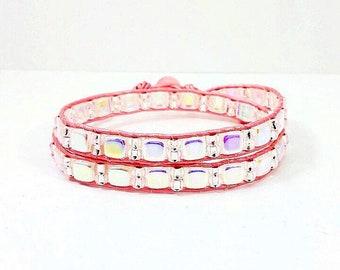 Pink Champagne~Handmade Wrap Bracelet~Wrap Leather Bracelet~Czech Glass~Japanese Seed Bead Bracelet~Adjustable Bracelet~Gift for Women