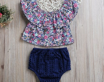 Lovely Floral and Navy Blue Clothing Set