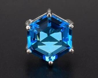 2 Hexagonal Capri Blue Pendant / Connector. Silver Plated over Brass Setting. 18mm
