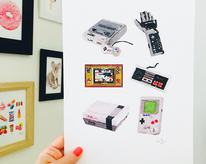 Iconic Retro Gamer Print - A4 Size Designed and Printed in Australia.