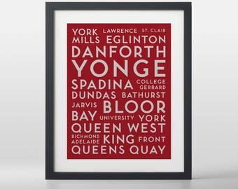 Toronto Downtown City Streets Typography Art Print