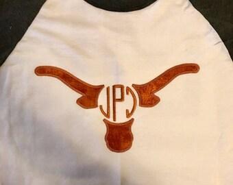 Texas Longhorns Inspired Monogram Baseball Tee